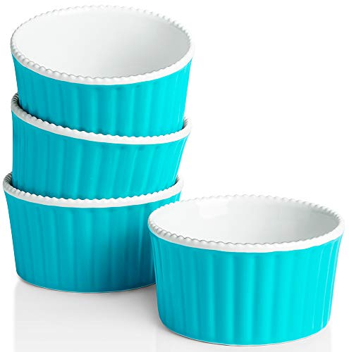 Krokori Ceramic Souffle Dishes Souffle Cups Ramekins for Cakes, Jams, Souffle, Creme Brulee, Dipping Sauces and Daily Use - 9 Ounce - Aquamarine (4, 4 inch)