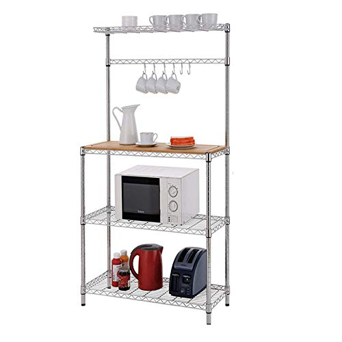 Kitchen Baker's Rack, Adjustable 4 Tier Wire Shelving Storage Shelf Microwave Oven Stand Spice Rack Organizer Utility Cart with Wood Cutting Board and Hooks for Home Kitchen Storage