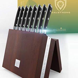 "DALSTRONG Steak Knife Set with Folding Block - Gladiator Series - Set of 8 - Forged German ThyssenKrupp HC Steel - w/Modular Storage Block (5"" Straight-Edge Blade, Black G10 Handle)"