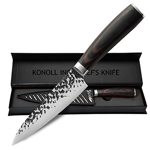 KONOLL Fruit knife 5-Inch Paring knife Kitchen Utility Knife Stainless Steel Cutting Knife with Ergonomic Pattern Wooden Handle