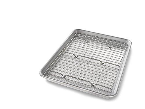 USA Pan Quarter Sheet Baking Pan and Bakeable Nonstick Cooling Rack, Metal