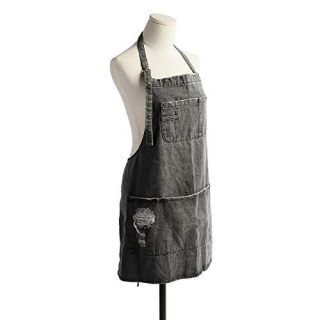 CACHIL Denim Bib Apron Adjustable Straps Cooking Apron Kitchen Apron with 5 Pockets for Coffee Chef Cooking Kitchens (Gray)