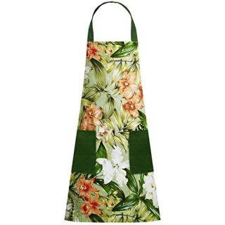 DailyPlus Floral Pattern Apron Flower Cooking Kitchen Aprons for Women Chef Bib Apron Cotton Cooking Apron Cooking Baking Painting