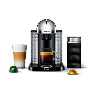 Nespresso Vertuo Coffee and Espresso Maker by Breville with Aeroccino, Chrome and BEST SELLING VERTUOLINE COFFEES INCLUDED