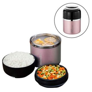 Bento Box for Kids and Adults with 2 Layers Leak-proof Food Containers with Handle Insulated Stainless Steel Lunch Boxes Food Jar Stay Hot 5h (Rose Gode)