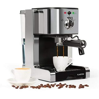 Klarstein Passionata Rossa Espresso Machine, 1350W, Stainless Steel Components, Steam Nozzle for Frothing Milk and Preparing Hot Drinks, 20 Bar, Slate Gray