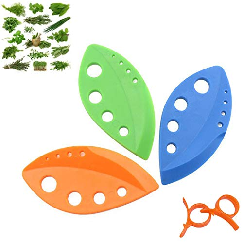 Leaf Herb Stripper Kitchen Gadget Tools Vegetable Herb Stripping Tool Kitchen Knife for Kale Chard Collard Greens Rosemary Thyme Coriander Perilla Parsley Taragon Plastic Resin Curved Edge (3 COLORS)