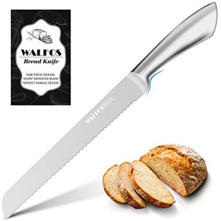 Walfos Serrated Bread Knife, Food Grade One-Piece Stainless Steel Cake Knife with Ergonomic Handle for All Types of Bread