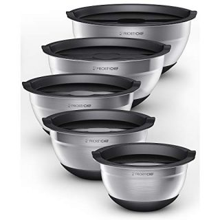 PriorityChef Stainless Steel Mixing Bowls With Lids Set of 5 - Multifunctional Stackable Measuring Bowl Set With Silicone Base - 1.2/1.7/2.2/3.6/4.7 Quart