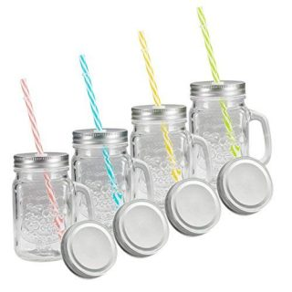 Tosnail 4 Pack 16 Oz. Mason Jar Mugs with Handle, Tin Lid and Plastic Straws - Old Fashion Drinking Glasses