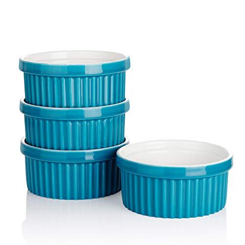 Sweese 503.407 Porcelain Ramekins for Baking - 12 Ounce Souffle Dish - Set of 4, Steel Blue