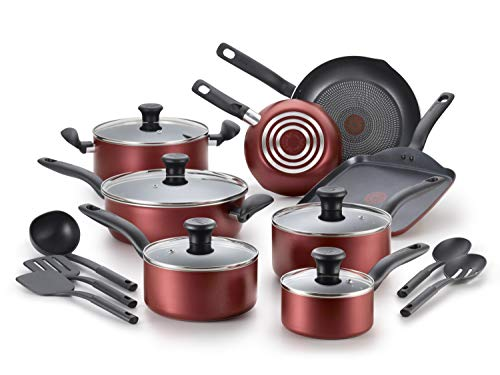 T-fal, Dishwasher Safe Cookware Set, 18 Piece, Red Initiatives Nonstick Inside