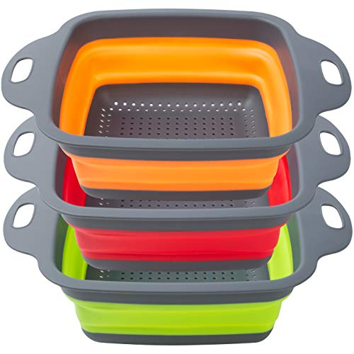 POPCO Wide Collapsible Colanders Set of 3 Large (4 Quart) Silicone Space Saving Kitchen Strainer Set - Perfect for Draining Pasta, Vegetables, Meats and fruits (Square)