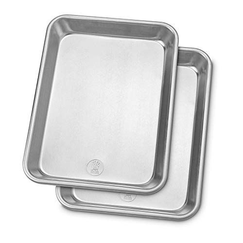 Professional Quarter Sheet Baking Pans - Aluminum Cookie Sheet Set of 2 - Rimmed Baking Sheets for Baking and Roasting - Durable, Oven-safe, Non-toxic, Easy to Clean, Commercial Quality - 9x13-inch