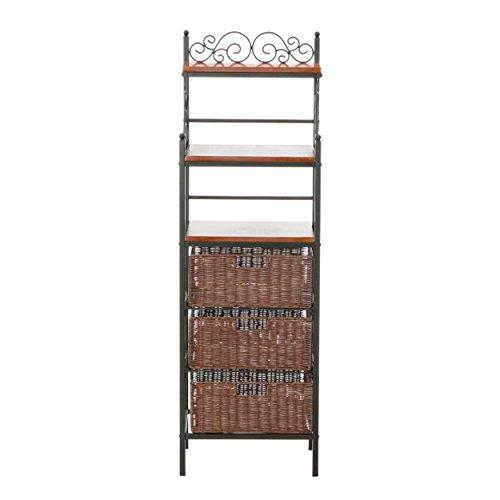 SEI Furniture Wood Metal Frame 3 Drawer w/Woven Baskets, Black w/Brown