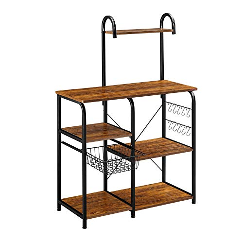"Mr IRONSTONE Vintage Kitchen Baker's Rack Utility Storage Shelf 35.5"" Microwave Stand 3-Tier+4-Tier Shelf for Spice Rack Organizer Workstation with 10 Hooks"