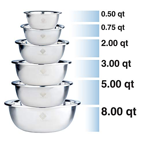 Quality Stainless Steel Mixing Bowls Set of 6. Nested Bowl Design Large to Small for Cooking Baking Prepping Food at Home & Great Salad Mixing Bowls For Your Kitchen