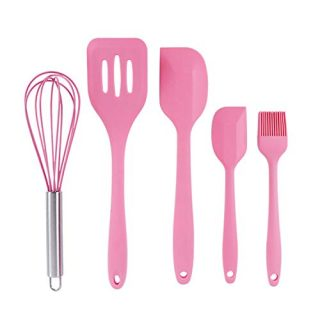 BvCook 5pcs Nonstick Silicone Spatula Set Kitchen Utensils Tools for Cooking Baking Mixing BPA FREE(Pink)