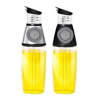 AMINNO Kitchen Oil Dispenser Press and Measure Oil Dispenser Bottles 2 pack, Olive Oil and Vinegar 500ml Glass Bottles Drip Free Oil Pourer Healthy Cruet,silver & black