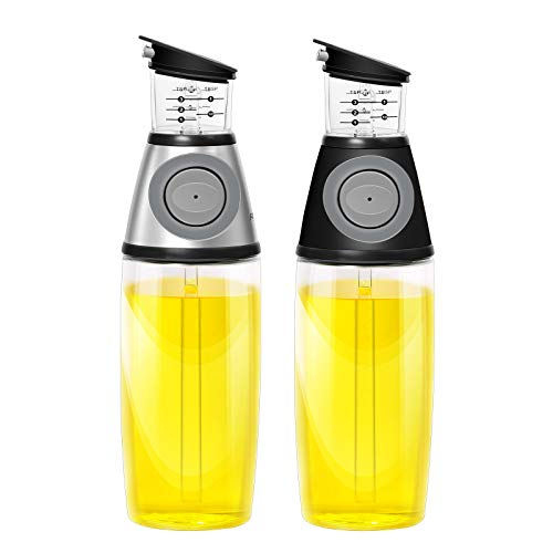 AMINNO Kitchen Oil Dispenser Press and Measure Oil Dispenser Bottles 2 pack, Olive Oil and Vinegar 500ml Glass Bottles Drip Free Oil Pourer Healthy Cruet,silver & black