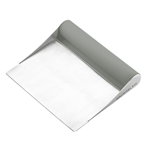 Rachael Ray Tools and Gadgets Stainless Steel Pastry Scraper / Bench Scrape / Kitchen Tool for Baking and Cooking / Dishwasher Safe, Sea Salt Gray