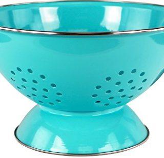 Calypso Basics by Reston Lloyd Powder Coated Enameled Colander, 5 Quart, Turquoise