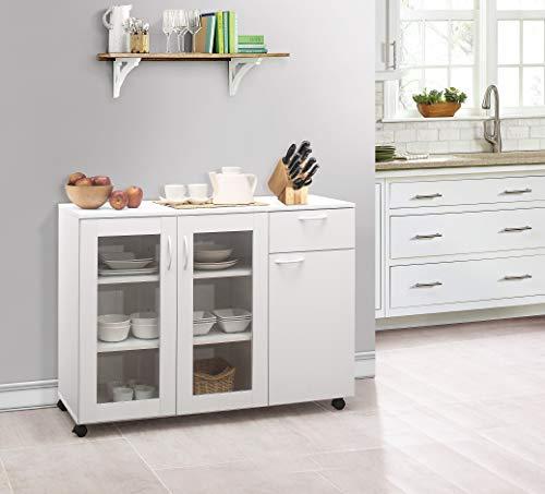 Kings Brand Furniture - Buffet Server Sideboard Kitchen Storage Cabinet, White