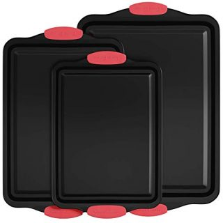 Nonstick Cookie Sheet Set, Silicone Handles