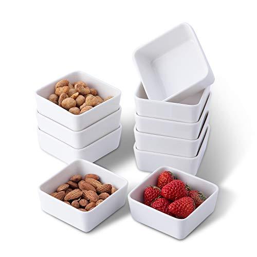 Set of 10, Porcelain 3.5 in 6 oz White Square Ramekins for Baking, Oven Safe Creme Brulee Ramekin, Sauce Dipping Bowls