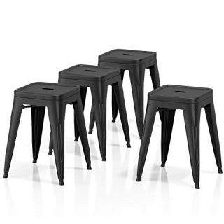 Metal Dining Stool Set of 4 Backless Stackable 18 inch Seat