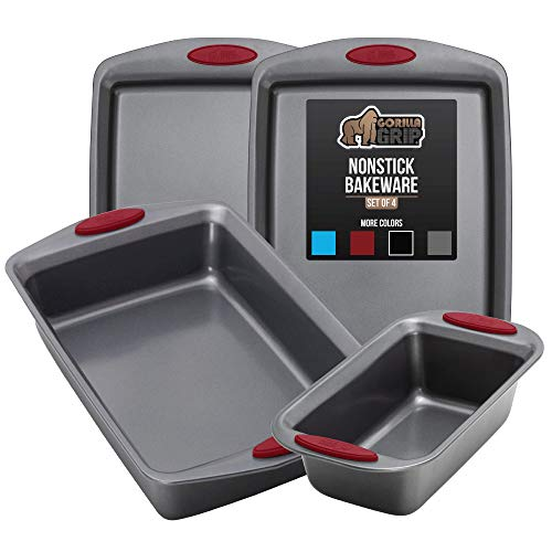 Gorilla Grip Original Kitchen Bakeware Sets, 4 Piece Baking Set with Silicone Handles, Includes 2 Large Size Cookie Sheets, 1 Medium Sized Oven Roaster Pan and 1 Loaf Pan for Baking Bread, Red