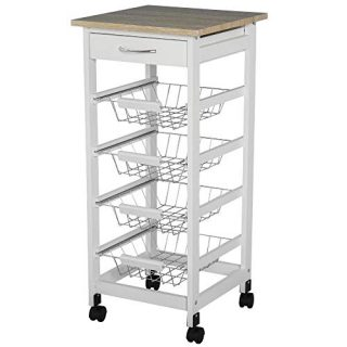 """HOMCOM 32.25"""" Wooden Rolling Kitchen Storage Cart on 360° Swivel Wheels with Ample Storage Space & Solid Structure White"""