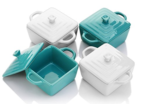 LIFVER 8 Ounces Ceramic Ramekins for Baking, Mini Casserole with Lid, Souffle Dish, Set of 4, White Blue