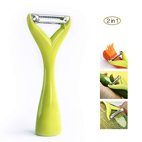 Vegetable Potato Peeler Apple Slicer-Magic Vegetable Peeler Mandoline Slicer for Potatoes Carrots and Cucumbers One for Peel One for Strip, 2 in 1