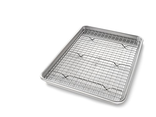 USA Pan Jelly Roll Baking Pan and Bakeable Nonstick Cooling Rack, Metal