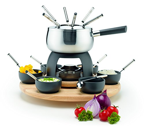 MÄSER Set 23 Piece Pot with Splash Guard, Rechaud, Rotating Carousel Made of Wood, Fondue Forks and Bowls, Stainless Steel/Grey/Black