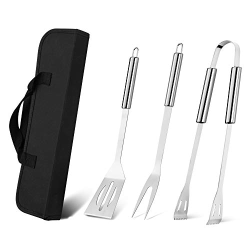 EDEUOEY BBQ Grill Tools Set: Women 3Pcs Outdoor Barbecue Stainless Steel Spatula Fork Tongs with Portable Storage Bag Case Cool Cooking for Men Camp Utensils Accessories Kit