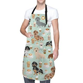 "FUNINDIY Funny Bib Apron with 2 Pockets and Extra Long Ties, Waterdrop Resistant Adjustable Kitchen Chef Apron for Men Women - Cute Colored Coffee Dachshund Apron - 33"" x 28"""