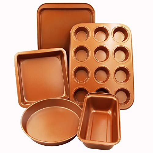 CopperKitchen Baking Pans 5 pcs Bakeware Set. Toxic Free Environmentally Friendly Nonstick. Muffin Loaf Square Sheet Round Pan