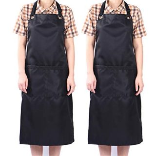 Adjustable Bib Apron Waterdrop Resistant with 2 Pockets Cooking Kitchen Aprons (2)