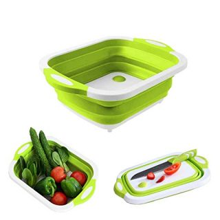 PETIT MANON Collapsible Cutting Board with Colander,Space Saving Cutting Board for Outdoor,Travel, Picnic, Kitchen