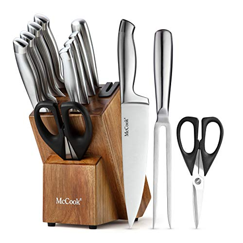 McCook MC35 Carving Knife Sets,11 Pieces German Stainless Steel Hollow Handle Self Sharpening Kitchen Knife Set in Acacia Block