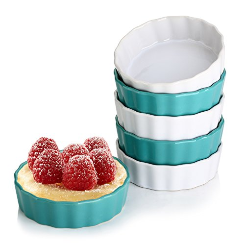 LIFVER 5 Ounces Ceramic Ramekins for Baking, Creme Brulee, Souffle Dishes, Dip Bowls, Set of 6, Blue White