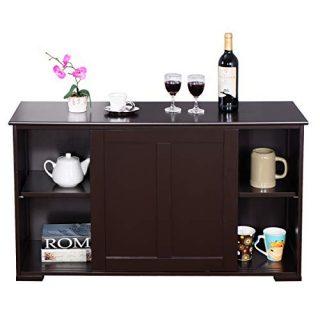 WATERJOY Kitchen Storage Cabinet, Stackable Buffet Storage Sideboard with Sliding Door Home Furniture, Elegant Black (Brown Wood Door)