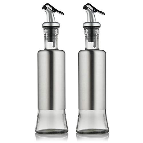 FARI Stainless Steel Olive Oil Dispenser Bottle Set, 2 Pack of 10oz Glass Cooking Oil & Vinegar Cruet Set for Kitchen and BBQ