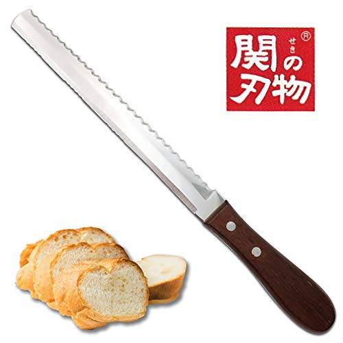 Bread Knife, 2in1 Double Sided [Made in Japan] Super Sharp 8 Inch Power Blade Serrated Bread Knife, Unique Design Bread Cutter