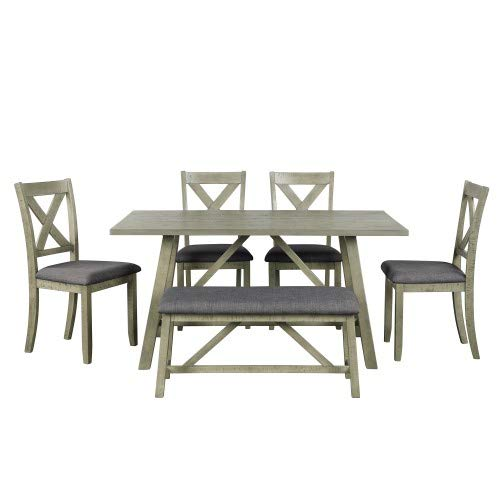 Modern Rectangular Wood Kitchen Table Set with Table