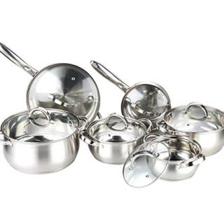 Heim Concept Kitchen Cookware Set 12-Piece Stainless Steel Pots and Pans Set, Cooking Set with Glass Lid