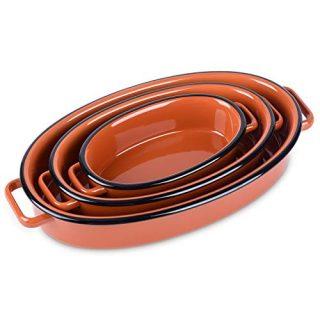 Bakeware Set, NEWANOVI Ceramic Baking Dish, Ellipse Baking Pans Lasagna Pans for Cooking, Kitchen, Cake Dinner, Banquet and Daily Use, 13 inch, 10.4 inch, 7.7inch, Orange Red