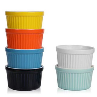 amHomel Porcelain Souffle Dishes Ramekins Bakeware Set, 8 OZ Baking Cups Creme Brulee and Ice Cream, Set of 6, Hot Assorted Color